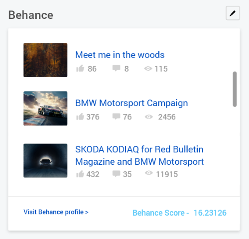 Add Customize Behance section to your verified profile